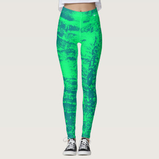 Aqua and Lime Wax Texture Leggings