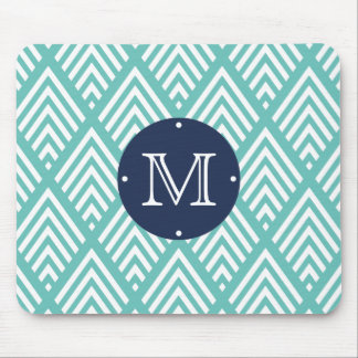 Aqua and Navy Preppy Diamond Chevron Monogram Mouse Pad