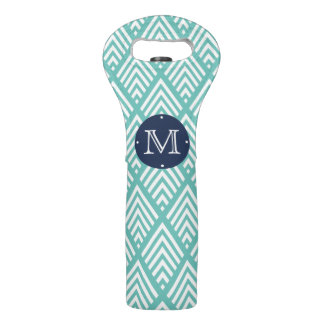 Aqua and Navy Preppy Diamond Chevron Monogram Wine Bag