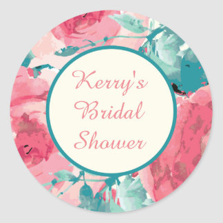 Aqua and Pink Bridal Shower Stickers