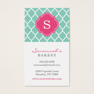 Aqua and Pink Chic Moroccan Lattice Monogram Business Card