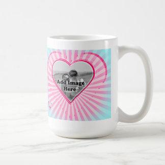 Aqua and Pink coral Heart Photo template Basic White Mug
