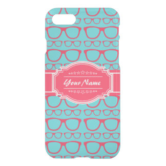 Aqua and Pink Geek Glasses Personalized iPhone 7 Case