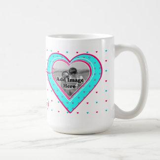 Aqua and Pink Heart pattern Photo template Basic White Mug