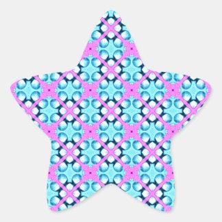 Aqua and Pink Pattern Background Star Sticker