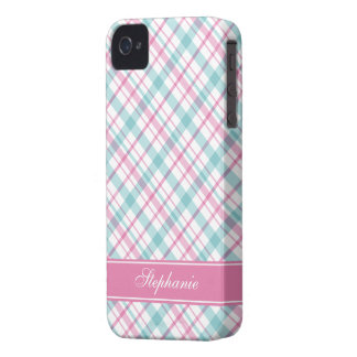 Aqua and Pink Plaid Pattern iPhone 4 Cover