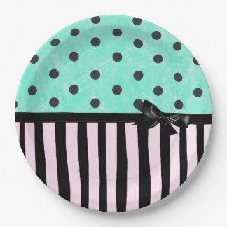 Aqua and Pink Polka Dot Striped  Paper Plate 9 Inch Paper Plate
