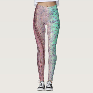 Aqua and Plum Ebroidery Patterned Leggings