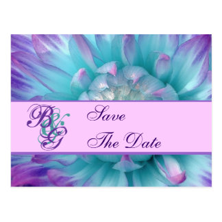 Aqua and Purple Flower Petals Save the Date 2 Postcard