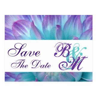 Aqua and Purple Flower Petals Save the  Date V2 Postcard