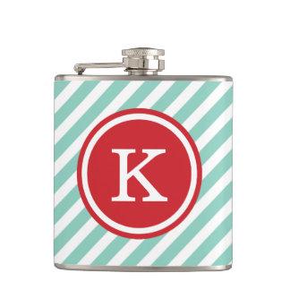 Aqua and Red Nautical Stripes Monogram Flasks