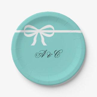 Aqua and Ribbon Party Paper Plates
