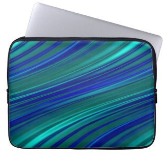 Aqua and royal blue wavy stripes laptop computer sleeve