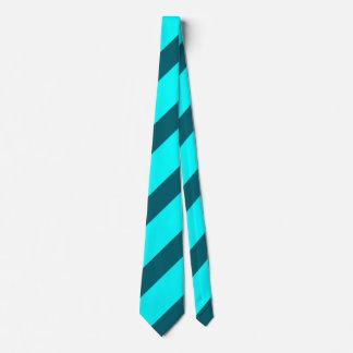 Aqua and Teal Diagonally-Striped Tie