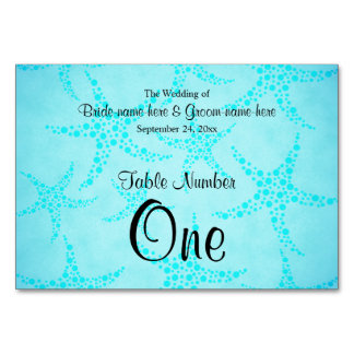 Aqua and Turquoise Starfish Wedding. Card