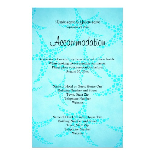 Aqua and Turquoise Starfish Wedding. Full Color Flyer