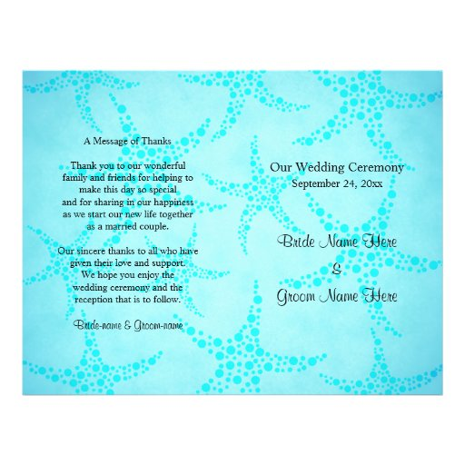 Aqua and Turquoise Starfish Wedding. Flyer Design