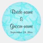 Aqua and Turquoise Starfish Wedding. Round Sticker