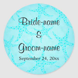 Aqua and Turquoise Starfish Wedding. Round Sticker