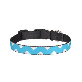 Aqua and White Chevron Stripe Pet Collar