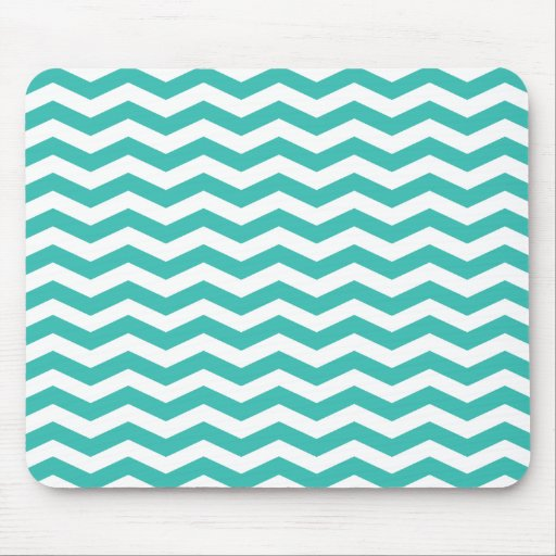 Aqua and White Chevron Stripes Mousepads