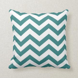 Aqua and White Chevron Throw Pillow