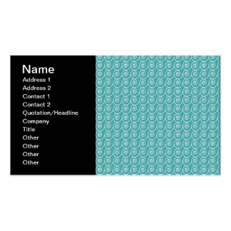 Aqua and White Curlie Cue Pattern Pack Of Standard Business Cards