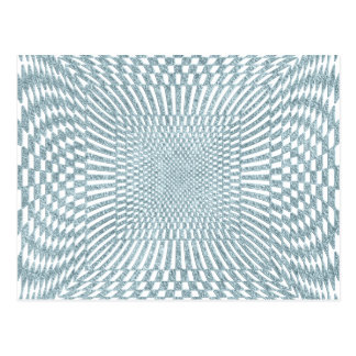 Aqua and White Distorted Checkered Pattern Postcard