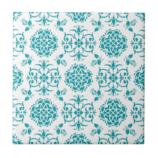 Aqua and White Floral Damask Pattern Tile