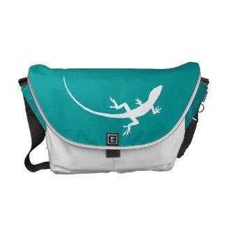 Aqua and White Folk Art Lizard Messenger Bag
