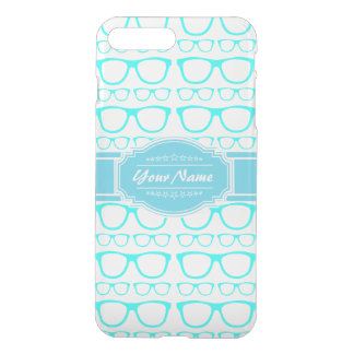 Aqua and White Geek Glasses Personalized iPhone 7 Plus Case