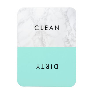 Aqua and White Marble Modern Typography Dishwasher Magnet