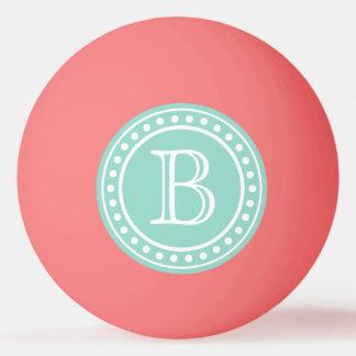 Aqua and White Polka Dot Monogram on Pink