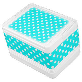 Aqua and White Polka Dots Cooler