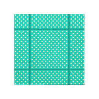 Aqua and White Polka Dots Wood Print