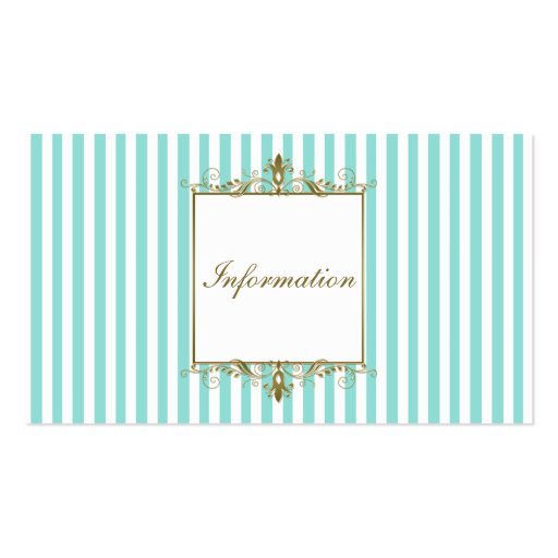 Aqua and White Stripes with Gold Scrolls Info Card Business Card Templates