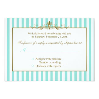 Aqua and White Stripes with Gold Scrolls RSVP Card Custom Invitations