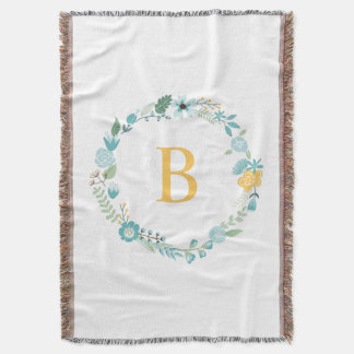 Aqua and Yellow Monogrammed Floral Wreath