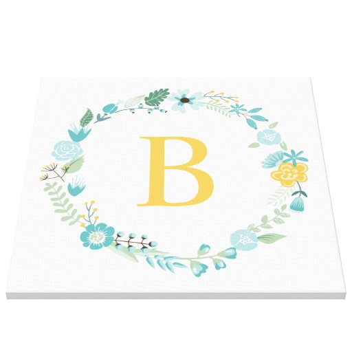 Aqua and Yellow Monogrammed Floral Wreath Gallery Wrap Canvas