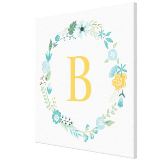 Aqua and Yellow Monogrammed Floral Wreath Canvas Prints