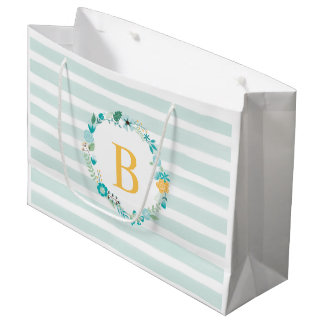 Aqua and Yellow Monogrammed Floral Wreath Large Gift Bag