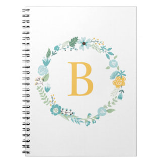 Aqua and Yellow Monogrammed Floral Wreath Spiral Notebooks