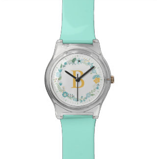 Aqua and Yellow Monogrammed Floral Wreath Watch