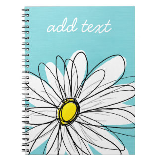 Aqua and Yellow Whimsical Daisy Custom Text Notebook