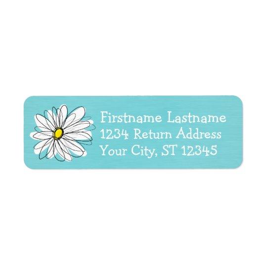Aqua and Yellow Whimsical Daisy Custom Text Return Address Label