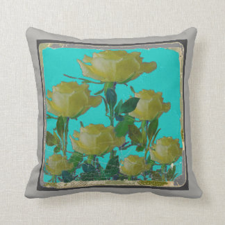 AQUA ANTIQUE IVORY YELLOW ROSE GARDEN CUSHION