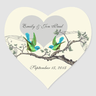 Aqua & Apple Green Vintage Birds Wedding Stickers