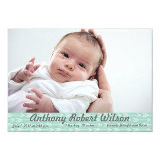 Aqua Arrows Simple Birth Announcement