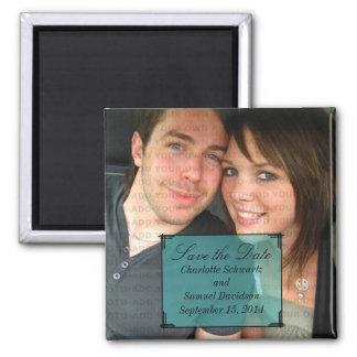 Aqua Art Deco Frame Save the Date Magnet
