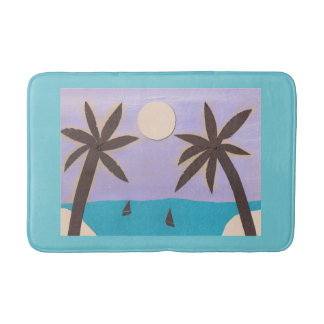 Aqua Bath Mat with Palm Trees